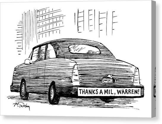 Taxes Canvas Print - Captionless. Bumper Sticker On Car Reads: Thanks by Mike Twohy