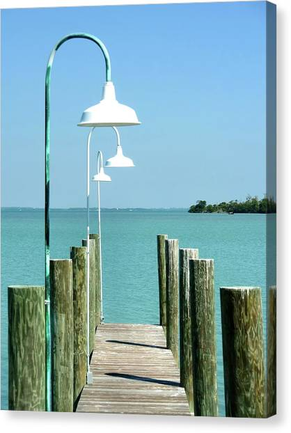 Captiva Island Pier Two Canvas Print by Richard Mansfield