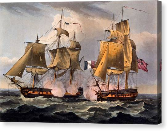 Royal Navy Canvas Print - Capture Of Castor by Thomas Whitcombe