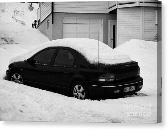 Harsh Conditions Canvas Print - Car Buried In Snow Outside House In Honningsvag Norway Europe by Joe Fox