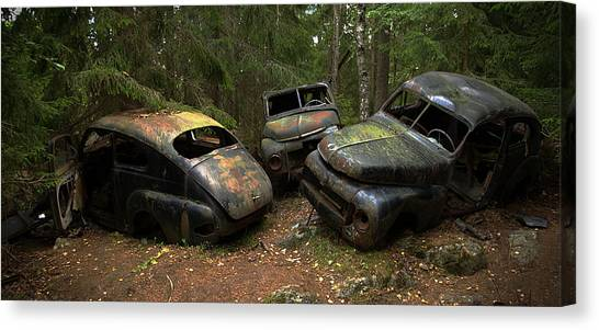 Cemetery Canvas Print - Car Cemetery In The Woods. by Steen Lund Hansen