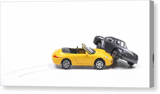 Car Crash Between Sportscar And Sedan Canvas Print
