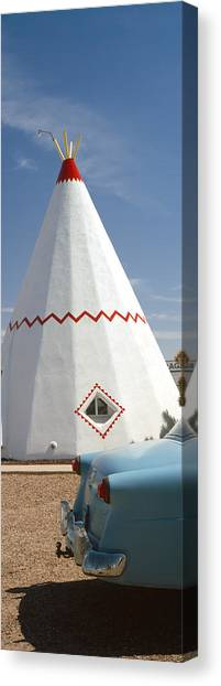 Teepee Canvas Print - Car With A Teepee In The Background by Panoramic Images