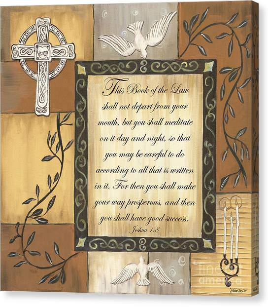 Dove Canvas Print - Caramel Scripture by Debbie DeWitt