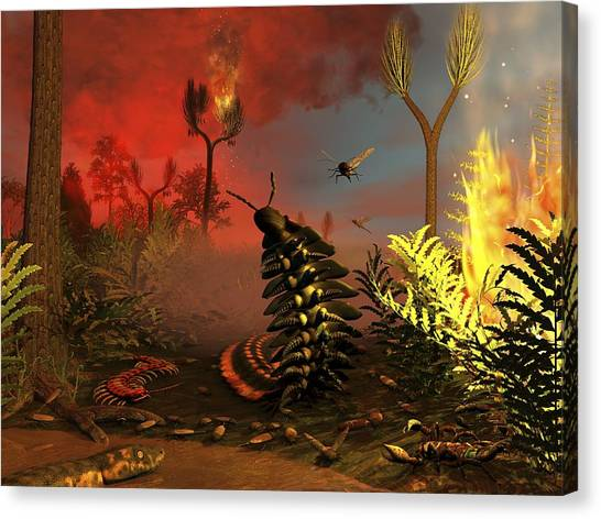 Centipedes Canvas Print - Carboniferous Forest Fire, Artwork by Science Photo Library