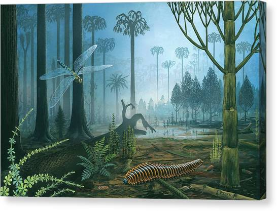 Millipedes Canvas Print - Carboniferous Landscape by Richard Bizley/science Photo Library