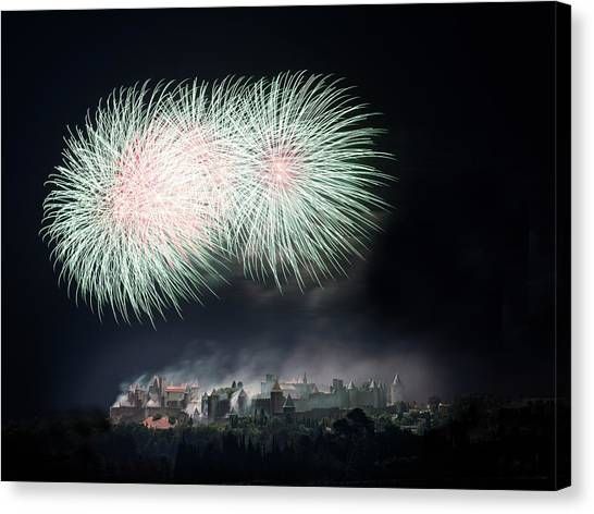 Fireworks Canvas Print - Carcassonne by Thierry Boitelle