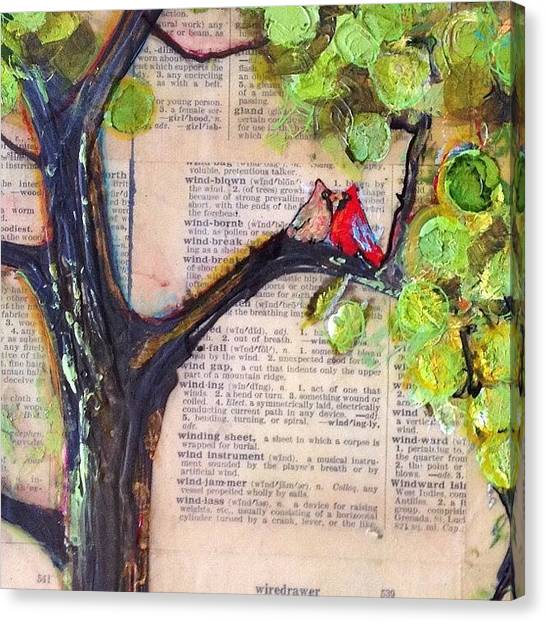 Birds Canvas Print - Cardinal Couple Detail by Blenda Studio