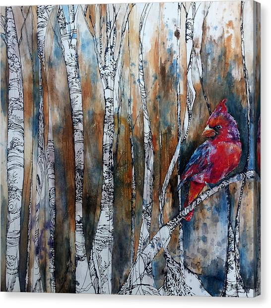 Cardinal In Birch Tree Forest Canvas Print