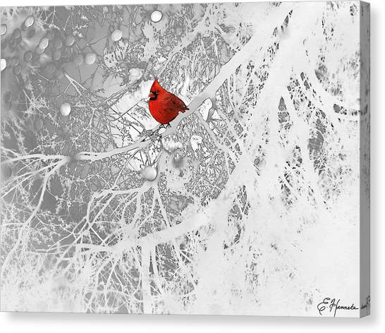 Tree Canvas Print - Cardinal In Winter by Ellen Henneke