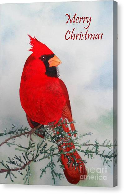 Cardinal Merry Christmas Canvas Print