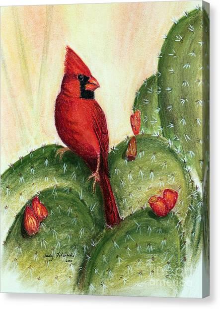 Cardinal On Prickly Pear Cactus Canvas Print