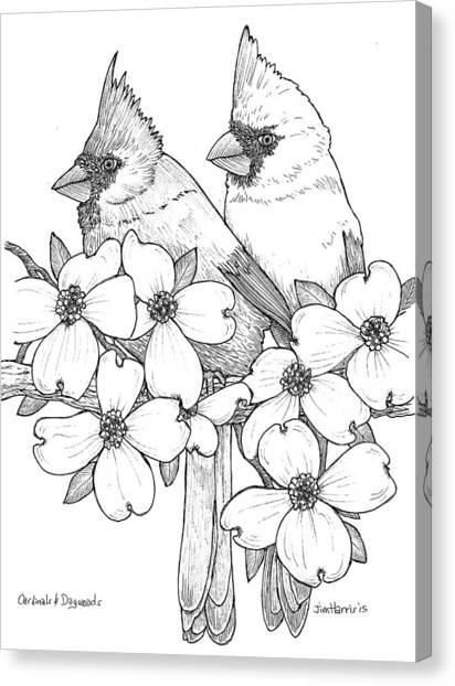 Cardinals And Dogwoods Canvas Print