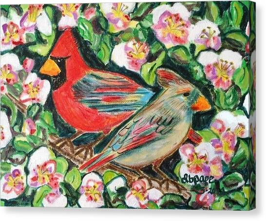 Cardinals In An Apple Tree Canvas Print