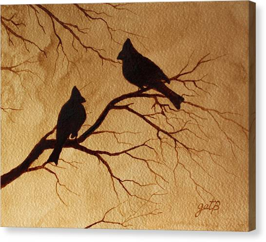 Cardinals Silhouettes Coffee Painting Canvas Print