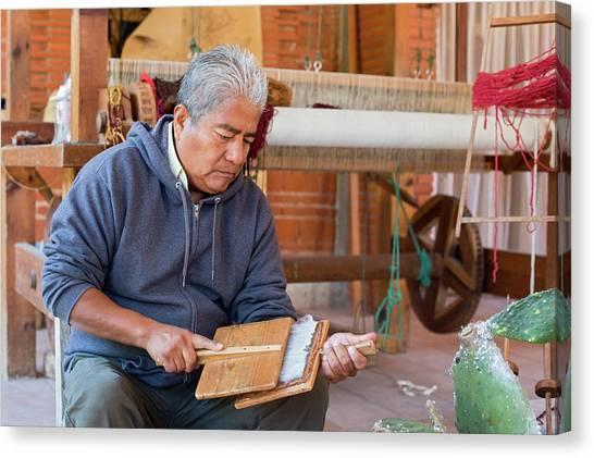 Rug making canvas print carding wool by jim west