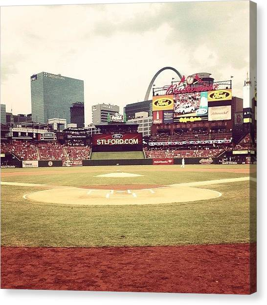 St. Louis Cardinals Canvas Print - Busch Stadium by Grant Steven