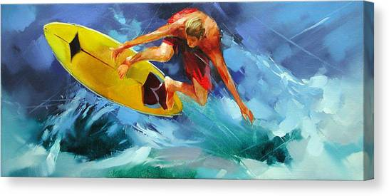 Snowboarding Canvas Print - Caressing The Wind. by Alexey Shalaev