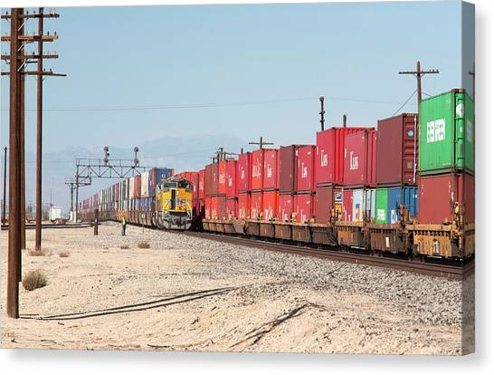 Freight Trains Canvas Print - Cargo Container Trains by Jim West