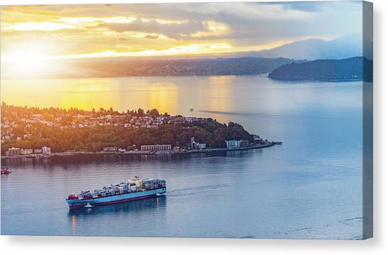 Cargo Ship Through Puget Sound In Sunset Canvas Print by Onest Mistic
