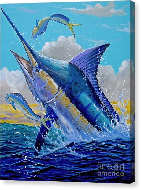 Spearfishing Canvas Print - Carib Blue by Carey Chen