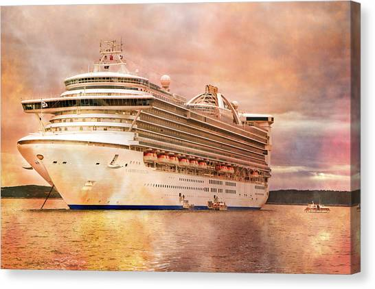 Cruise Ships Canvas Print - Caribbean Princess In A Different Light by Betsy Knapp