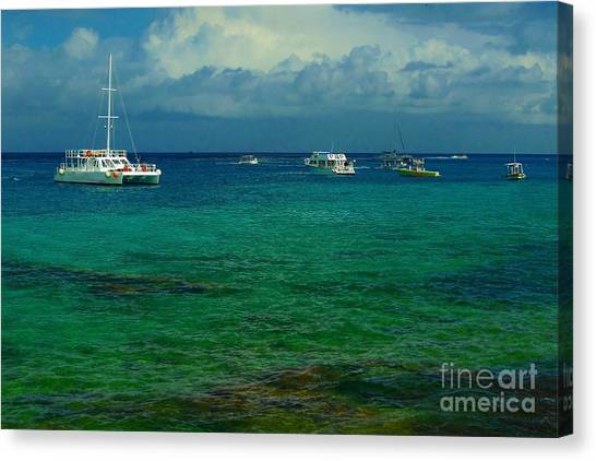 Caribbean Snorkelling Boats Canvas Print by Rachel Duchesne