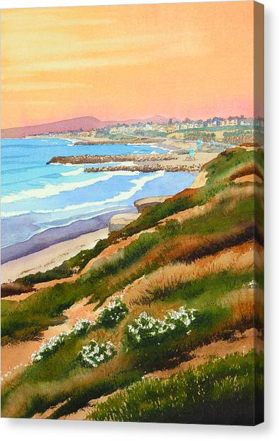 Pacific Coast Canvas Print - Carlsbad Coastline by Mary Helmreich