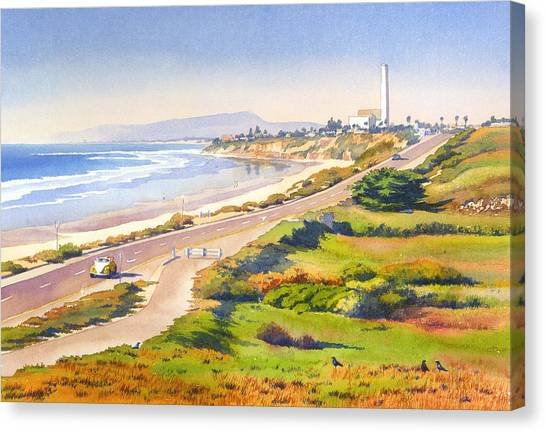 Pacific Coast Canvas Print - Carlsbad Rt 101 by Mary Helmreich