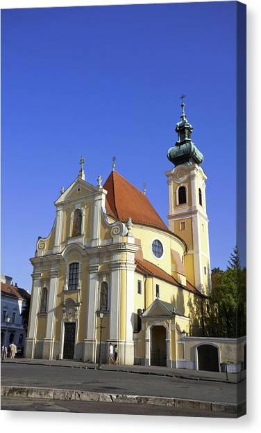 Danube Canvas Print - Carmelite Church In Gyor, Hungary by Martin Zwick