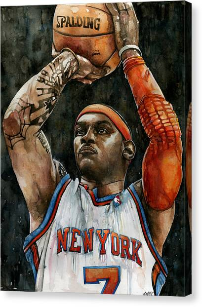 Denver Nuggets Canvas Print - Carmelo Anthony by Michael  Pattison