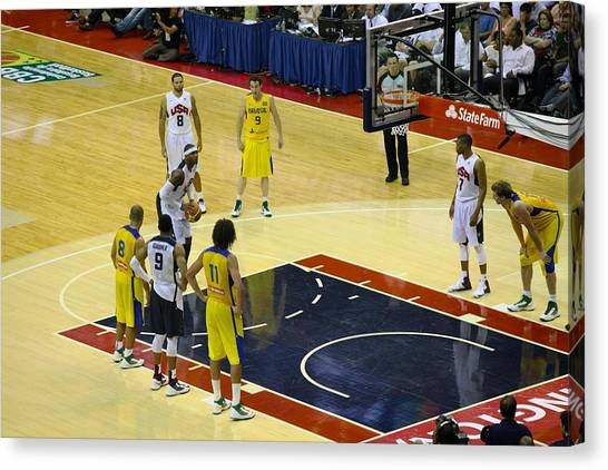 Basketball Teams Canvas Print - Carmelo Free Throw by Steven Hanson