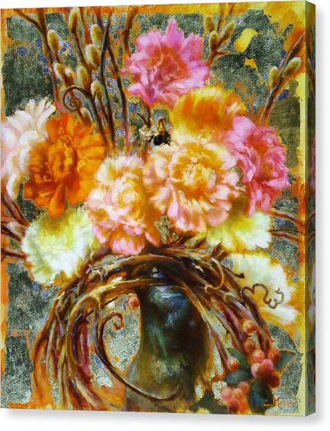 Carnation And Bee Canvas Print by John Murdoch