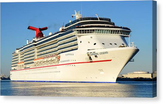 Cruise Ships Canvas Print - Carnival Legend Leaving Tampa Florida by David Lee Thompson