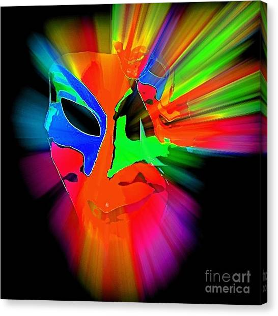 Carnival Mask In Abstract Canvas Print
