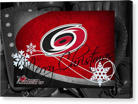Carolina Hurricanes Canvas Print - Carolina Hurricanes Christmas by Joe Hamilton