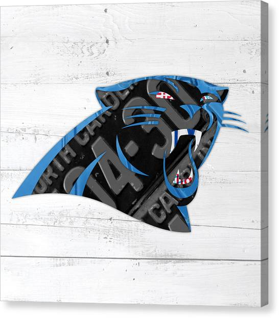 Carolina Panthers Canvas Print - Carolina Panthers Football Team Retro Logo Recycled North Carolina License Plate Art by Design Turnpike