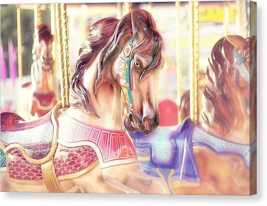 Dreamy Horse Canvas Print - Carousel  by Amy Tyler