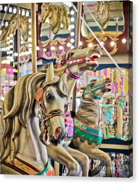 Casino Pier Canvas Print - Carousel At Casino Pier by Colleen Kammerer