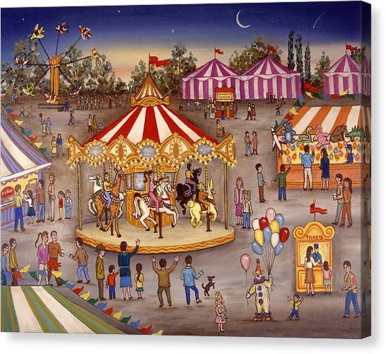 Folk Art Canvas Print - Carousel At The Carnival by Linda Mears