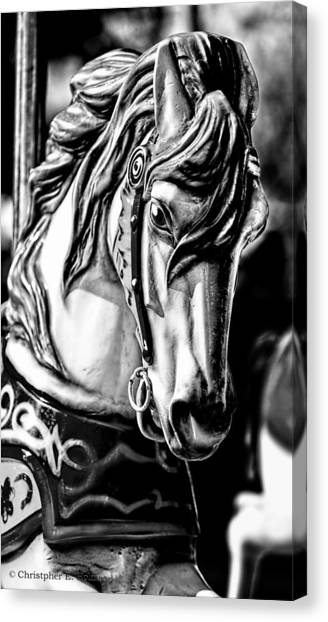 Carousel Horse Two - Bw Canvas Print