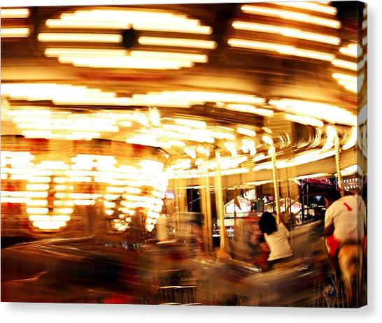 Carousel In Motion Canvas Print