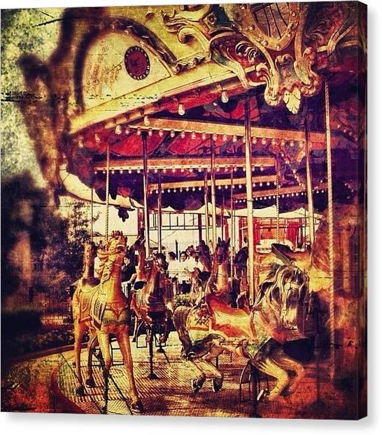 Horses Canvas Print - #carousel #ride #fun #amusement #horse by Jill Battaglia