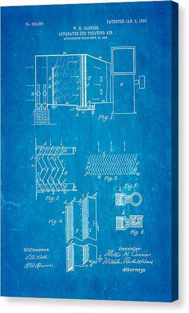 Cool breeze canvas prints fine art america cool breeze canvas print carrier air conditioning patent art 1906 blueprint by ian monk malvernweather Image collections