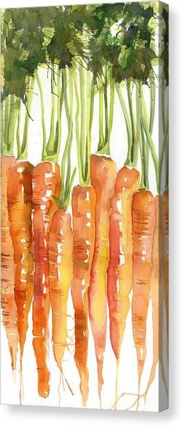 Carrot Canvas Print - Carrot Bunch Art Blenda Studio by Blenda Studio