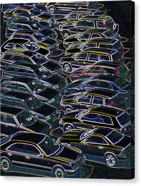 Cars In A Car Park Canvas Print by Sheila Terry/science Photo Library