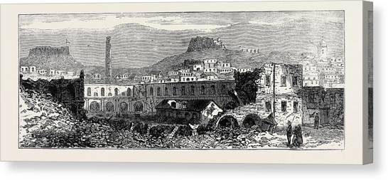 Garden Scene Canvas Print - Carthagena After The Siege Scene Of Explosion Of Artillery by English School