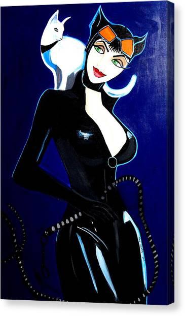 Comic Cat Woman Canvas Print