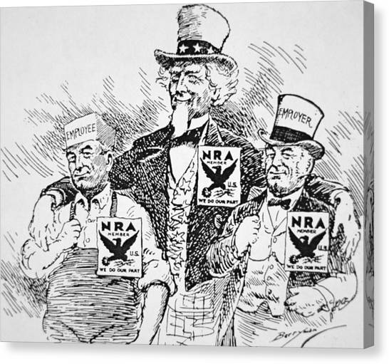 Nra Canvas Print - Cartoon Depicting The Impact Of Franklin D Roosevelt  by American School