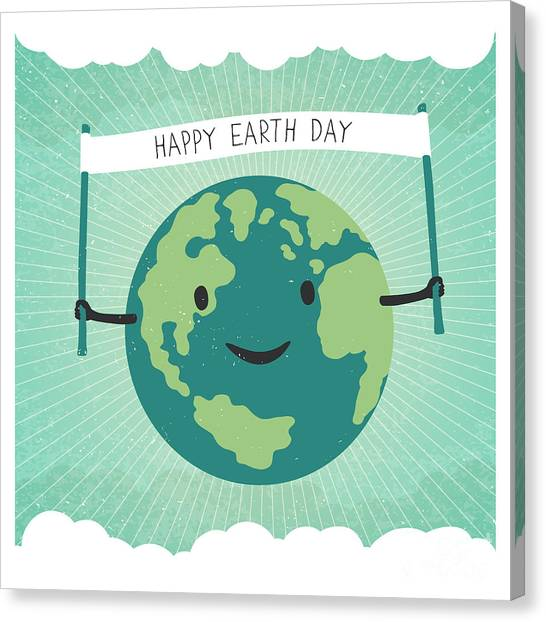 Planet Canvas Print - Cartoon Earth Illustration. Planet by Pashabo